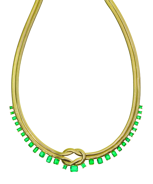 Jemma Wynne Knot necklace in 18k yellow gold and emeralds
