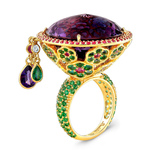 Buddha Mama ring in 20k gold with amethyst, emeralds, and sapphires