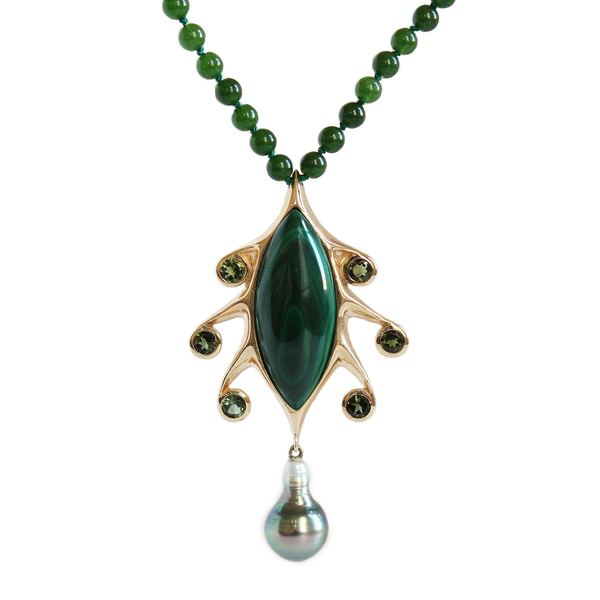 Baker & Black Tentacle necklace in 10k yellow gold, malachite, green tourmaline, jade beads, and Tahitian pearl