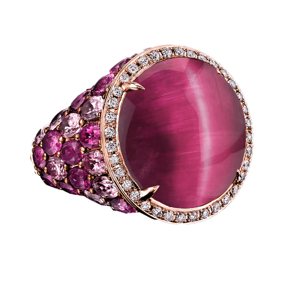 Robert Procop Cat's Eye Celebration ring in 18k rose gold with rubelite, pink sapphires, rubies, and diamonds