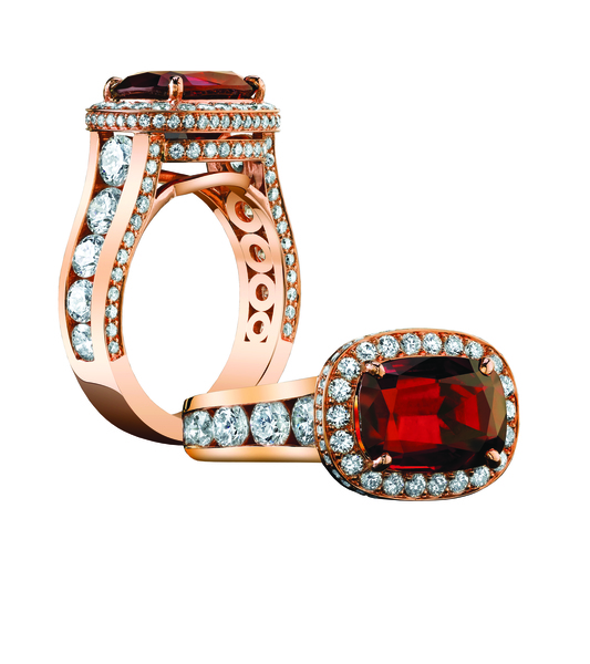 Robert Procop East West ring in 18k rose gold with cushion Umba ruby and diamonds