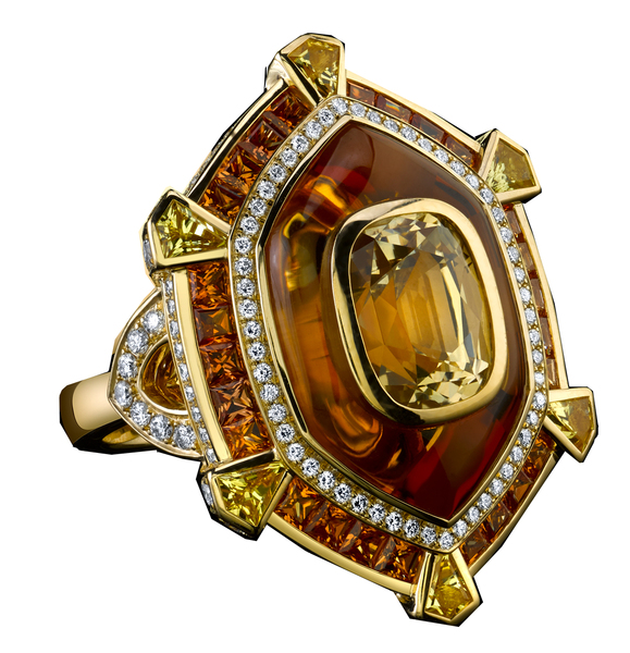 Robert Procop Crystal ring in 18k yellow gold with yellow sapphires, citrine quartz, orange sapphires, and diamonds
