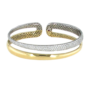 Roberto Coin Scalare bangle in 18-karat yellow and white gold with diamonds (similar to shown)