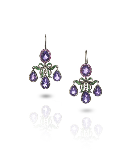 Holly Dyment Go Lightly Georgian earrings in 18k white gold with amethyst, tsavorite, pink sapphire, and white diamonds (price per pair)
