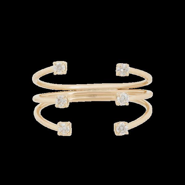 Jennie Kwon Women's Diamond & Gold Tri-Band Cuff Ring