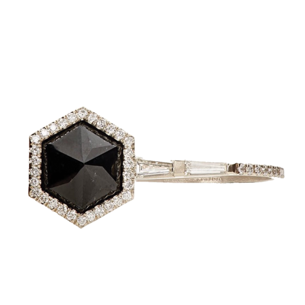 Monique Péan White Diamond & Black Guatemalan Jade Ring