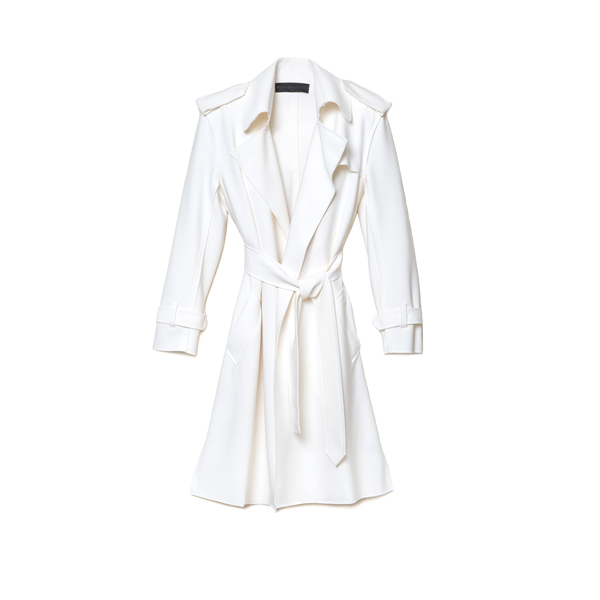 Norma Kamali Ivory Bonded Double Breasted Trench