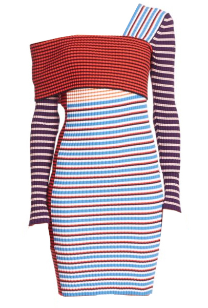 MSGM One-Shoulder Striped Cotton Dress