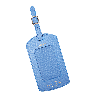 Smythson Panama Textured Leather Luggage Tag